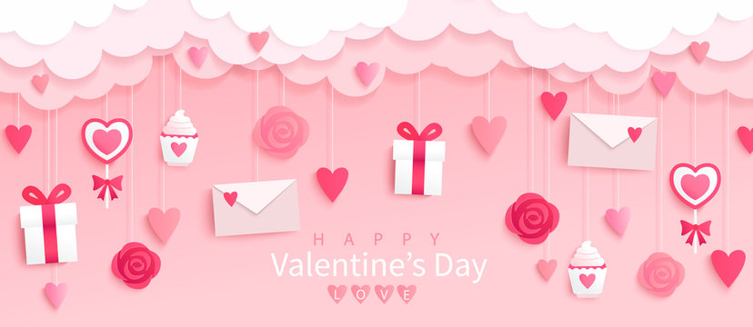 Valentines day banner with gifts,hearts,letters,flowers in pink background with wishing happy holiday, origami style.Template for flyer, invitation and greeting card for holiday.Vector illustration.