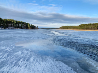 Lake Seliger in abnormally warm January 2020. Russia, Tver region