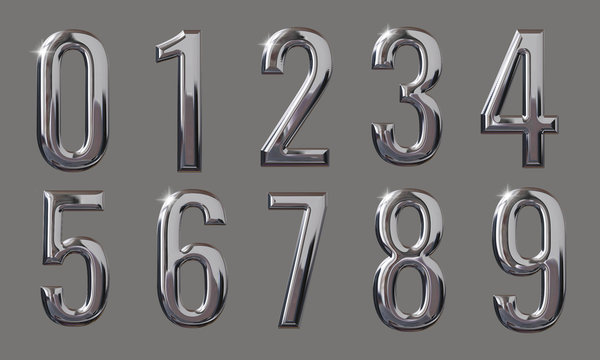 Set of Numbers with glossy metal texture (chrome, silver) and 3D rendering isolated on grey background
