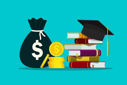 Scholarship for knowledge. Investment in education of student. Hat on stack of books and money for tuition. Study fee. Concept of loan for bachelor of college. Academic degree. Design flat vector