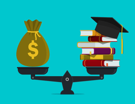 Pile of books with money on scales. Financial investment in knowledge, education concept. High worth of student education. Stack of book, bag of dollar. Financial payment for study of school. vector