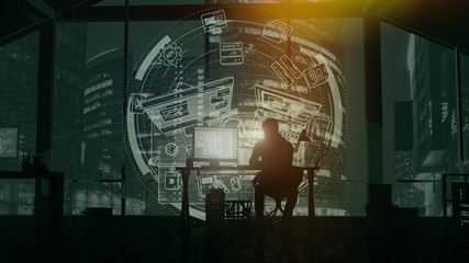 Web programmer on the background of evening skyscrapers and infographics.