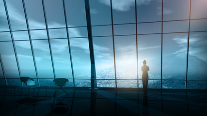 Silhouette of a business woman on the background of an office panoramic window.