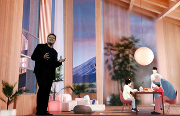 Danish architect Bjarke Ingels, CEO of Bjarke Ingels Group, talks about Woven City, a prototype city of the future on a 175-acre site at the base of Mt. Fuji in Japan, at a Toyota Motor Corporation news conference during the 2020 CES in Las Vegas