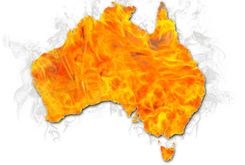 Bushfires in Australia in 2020. Australian map on fire isolated on white background. January 2020 fire affecting Australia is considered the most devastating and deadly ever seen in the country.