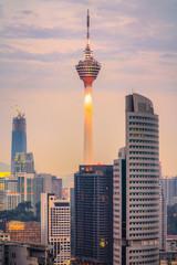 Poster Kuala Lumpur KUALA LUMPUR, MALAYSIA - FEBRUARY 19, 2018:.The Menara Kuala Lumpur Tower illuminated at night. Builted in 1995, is the 7th tallest communication tower in the world.
