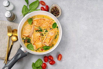 Delicious salmon steaks in cream sauce on light background