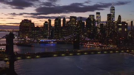 Wall Mural - New York City downtown buildings skyline aerial sunset evening