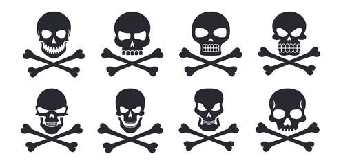 Different human skull symbols with crossbones vector illustration icons