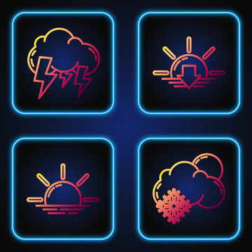 Set line Cloud with snow and sun, Sunrise, Storm and Sunset. Gradient color icons. Vector