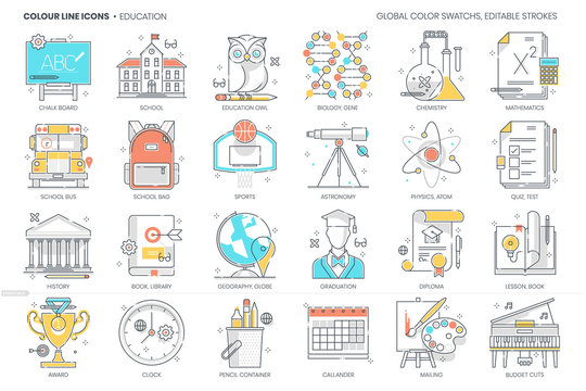 Education, school related, color line, vector icon, illustration set.