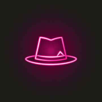 gang, criminal, hat, mafia neon style icon. Simple thin line, outline vector of mafia icons for ui and ux, website or mobile application