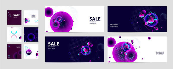 Set of banner style of cosmos universe stars galaxy dark blue 3d futuristic study abstraction planet neon Fototapete