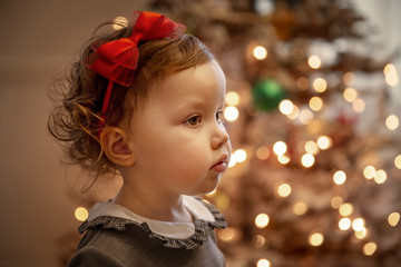 Cute little baby girl during Christmas