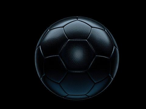 Black football or soccer ball against black background