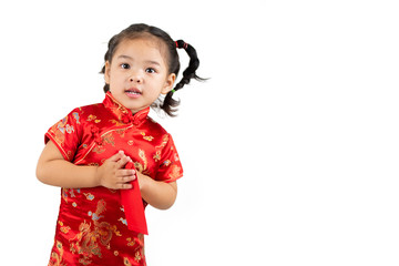 portrait of a girl in red dress chinese new year on white background