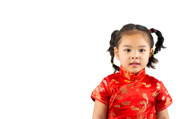 A littel girl model with  chinese new year red dress on white background