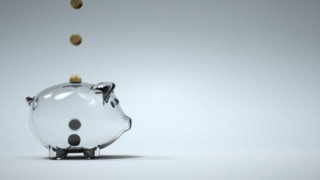 Golden coin fill glass piggy bank. Copy Space. 3D Rendering.