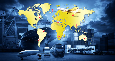 Wall Mural - logistic network distribution on background. Logistic and transport concept in front Industrial Container Cargo freight ship for Concept of fast or instant shipping, Online goods orders