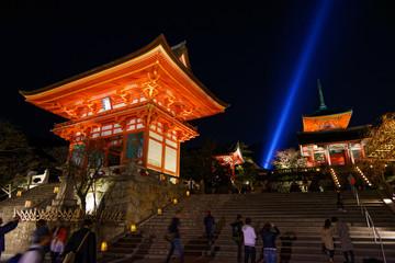 Fototapete - Kiyomizu Temple with tall pagoda tower in Kyoto Japan. Kiyomizu-dera is UNESCO World Heritage listed.