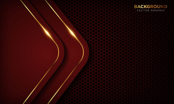Red luxury background with overlap layers. Texture with golden line and shiny golden light effect. Vector illustration.