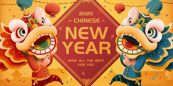 New year lion dance illustration
