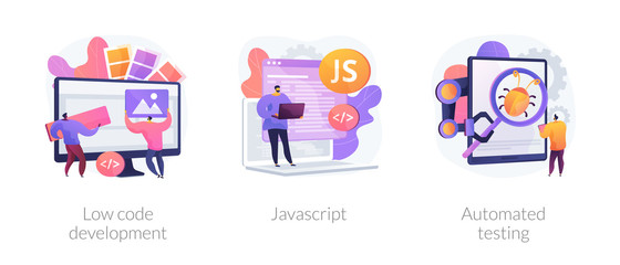 Software development. User interface design, programming language and usability testing. Low code development, javascript, automated testing metaphors. Vector isolated concept metaphor illustrations.