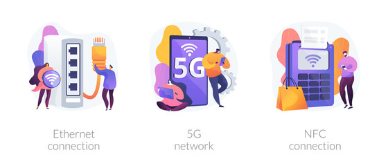 Wall Mural - Modern Internet technologies. Wireless network access, contactless payments, Iot system. Ethernet connection, 5g network, NFC connection metaphors. Vector isolated concept metaphor illustrations.
