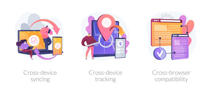 Cross platform software. Synchronized devices, browser sync. Cross-device syncing, cross-device tracking, cross-browser compatibility metaphors. Vector isolated concept metaphor illustrations.