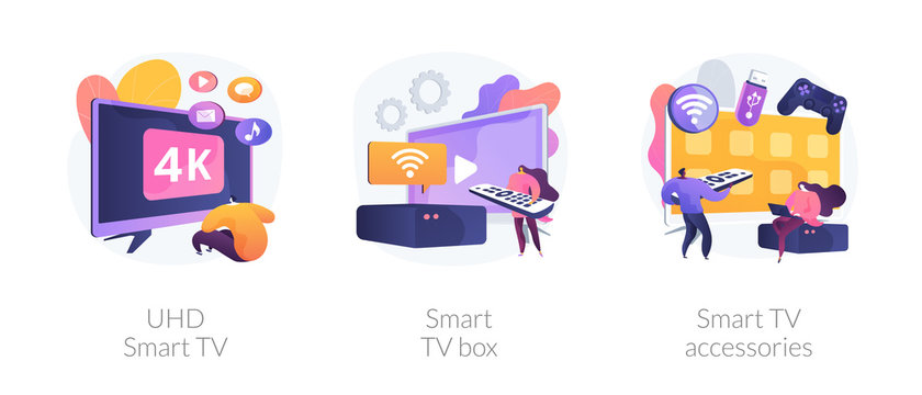Home cinema, electronics and multimedia. Modern entertainment, leisure and pastime. UHD smart TV, smart TV box, smart TV accessories metaphors. Vector isolated concept metaphor illustrations.