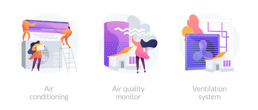 Indoor weather and climate control technology. Cooling and heating appliance. Air conditioning, air quality monitor, ventilation system metaphors. Vector isolated concept metaphor illustrations.
