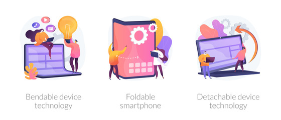 Smartphone display modern design, convertible laptop. Bendable device technology, foldable smartphone, detachable device technology metaphors. Vector isolated concept metaphor illustrations.