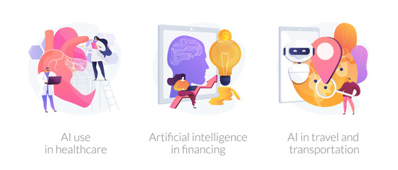 Wall Mural - Robotic modern technologies, automated assistant. AI use in healthcare, artificial intelligence in financing, AI in travel and transportation metaphors. Vector isolated concept metaphor illustrations.