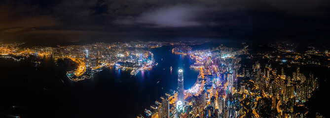 Fotomurales - Amazing night aerial view of cityscape of Victoria Harbour, center of Hong Kong