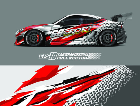 Drift car graphic livery design vector. Graphic abstract stripe racing background designs for wrap cargo van, race car, pickup truck, adventure vehicle. Eps 10