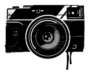 A vintage camera illustrated in a stencil, graffiti style