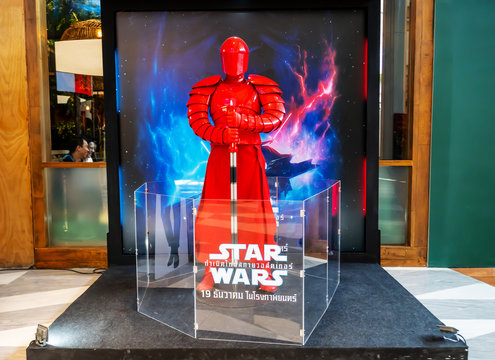 Bangkok,Thailand – Dec 14, 2019:Advertising decoration for the movie called Star Wars: Episode IX – The Rise of Skywalker and displays at the cinema to promote the movie