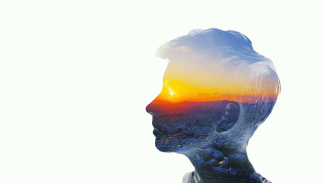 Double multiply exposure beautiful woman head silhouette portrait white isolated with sun in eye sky, sunset nature. Psychology, philosophy power of mind, human spirit, mental health, life zen concept