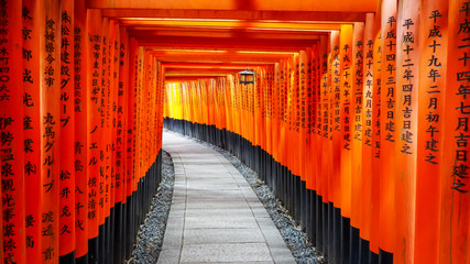 walking past torii gates and lantern at fushimi inari shrine