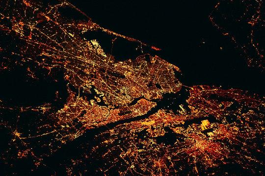 NEW YORK CITY lights map at night. Satellite view