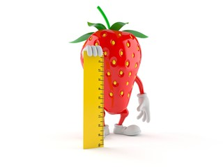 Strawberry character holding ruler