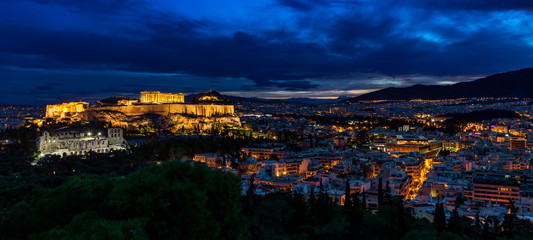 Poster Athene Panorama of Athens by Night