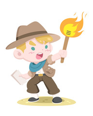 Cute style little golden hair adventurer holding torch and treasure map vector illustration