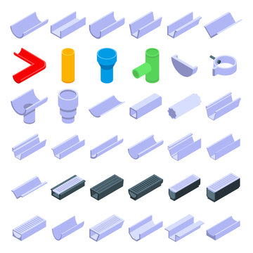 Gutter icons set. Isometric set of gutter vector icons for web design isolated on white background