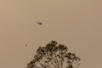 Water bombing fire fighting helicopter in The Blue Mountains in Australia