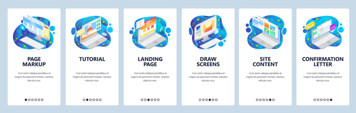 Isometric computer icons, landing page and site wireframe. Mobile app onboarding screens. Menu vector banner template for website and mobile development. Web site design flat illustration