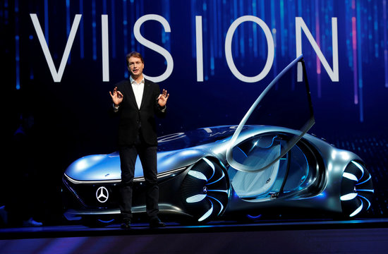 Ola Kallenius, chairman of the board of Daimler AG and Mercedes-Benz AG, unveils the Mercedes-Benz Vision AVTR concept car, inspired by the Avatar movies, at a Daimler keynote address during the 2020 CES in Las Vegas