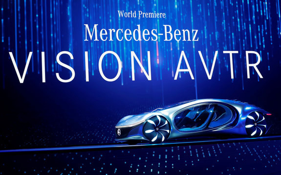 Ola Kallenius, chairman of the board of Daimler AG and Mercedes-Benz AG, drives the Mercedes-Benz Vision AVTR concept car, inspired by the Avatar movies, onstage at a Daimler keynote address during the 2020 CES in Las Vegas
