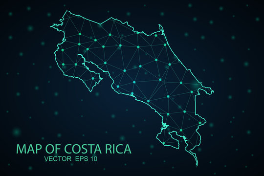 Map of costa Rica. Wire frame 3D mesh polygonal network line, design sphere, dot and structure. communications map of costa Rica.