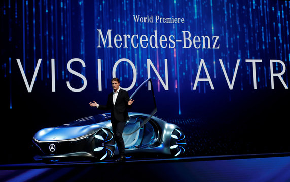 Ola Kallenius, chairman of the board of Daimler AG and Mercedes-Benz AG, gets out of the Mercedes-Benz Vision AVTR concept car, inspired by the Avatar movies, after driving the car onstage at a Daimler keynote address during the 2020 CES in Las Vegas